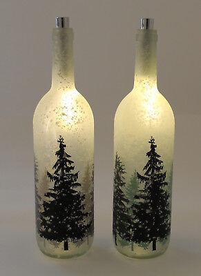 Dekorative Beleuchtung (Dekorative Glasflasche mit Winterwald Motiv und 10er LED Beleuchtung - 2 Modelle)