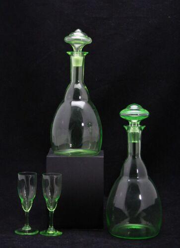 2x art deco decanter & glass, design 1930 by Copier, Leerdam, Annagroen Uranium