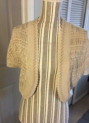 Womens Crochet Knitted Short Sleeve Bolero Shrug Cardigan Crop Top Tan XL Knit Bolero Shrug