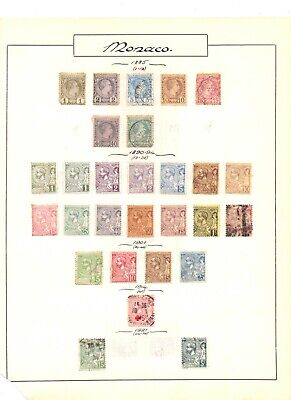 MONACO 1885 - 1939 MINT & USED ON 6 OLD ALBUM PAGES