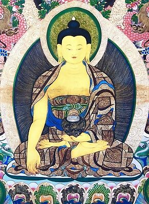 Original Tibet Buddha Thangka Buddha Groß alt 90x65 cm Thanka