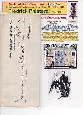 Medal of Honor Recipient~ Civil War ~ Fredrick Phisterer ~ Large Signed DOCUMENT