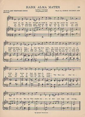 Vtg VASSAR COLLEGE song sheet - HARK ALMA MATER c38 - POUGHKEEPSIE, New York