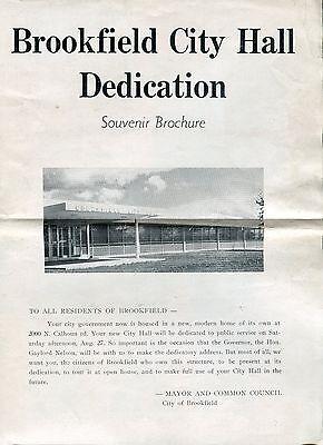 """Vintage Souvenir Brochure: """"Brookfield City Hall Dedication"""" [Wisconsin]"""