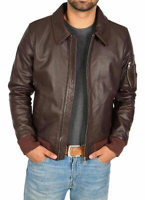 Urban Hombre Cuero Piel Cordero Marrón Clásico Premium Chaqueta Moto Biker Coat