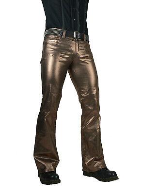 SHRINE CLASSIC COPPER METALLIC GOTH PUNK STEAMPUNK ROCKER BIKER JEANS PANTS Clothing, Shoes & Accessories