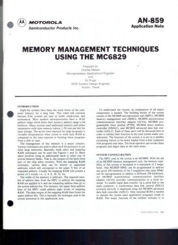 Motorola Application Note 859 Memory Management Techniques Using the MC6829