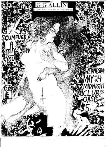 "GG Allin Club Oasis San Antonio, TX 8.5""x11"" - 2 Posters - May 1989 RARE!!!"