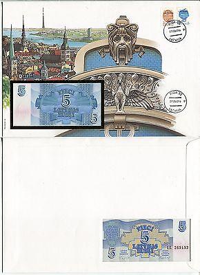 """Banknotenbrief """"Lettland"""" mit 5 Rubli 1992"""