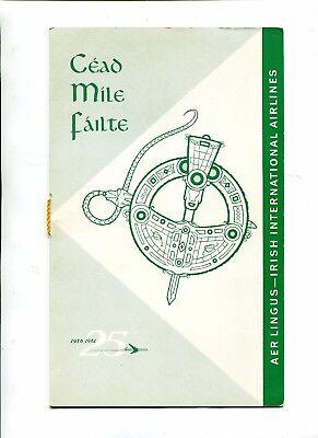 Vintage Airline Menu AER LINGUS Charter IRISH INSTITUTE w passenger list 1961