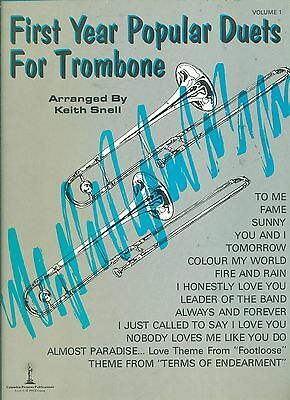 1st Trombone Music Book (FIRST YEAR POPULAR DUETS FOR TROMBONE BY KEITH SNELL MUSIC BOOK FAME RARE 1985!  )