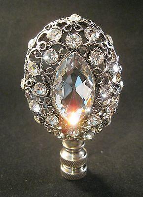 Lamp Finial-Antq.Silver RHINESTONE FILIGREE Lamp Finial-Satin Nickel -