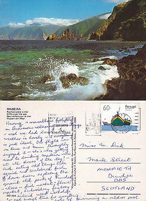 1990's CLIFFS OVER THE SEA MADEIRA PORTUGAL COLOUR POSTCARD
