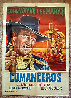 Vintage Original 1962 The COMANCHEROS - JOHN WAYNE Movie Poster film western art