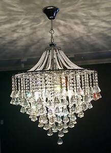 Brand New Chandelier Chrome Finish with Clear Crystals Lutwyche Brisbane North East Preview