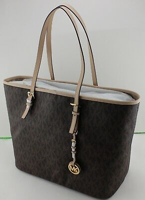 NEW AUTHENTIC MICHAEL KORS BROWN JET SET TRAVEL MD TOTE SIGNATURE WOMENS HANDBAG
