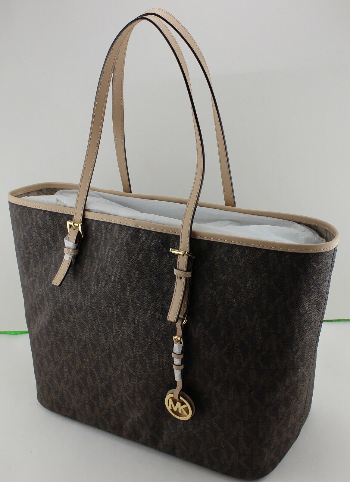 New Authentic Michael Kors Brown Jet Set Travel Ebaycom Jetset Lugagge Md Tote Signature Womens Handbag