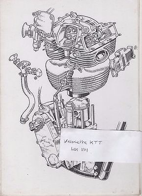 VELOCETTE KTT MARK VIII MK 8 ENGINE DRAWING / CUTAWAY / POSTER - LAMINATED