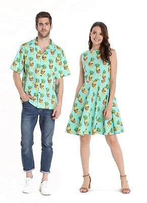 Couple Matching Outfit Hawaiian Luau Halloween Pineapple Skull with Sunglasses - Couple Outfits Halloween
