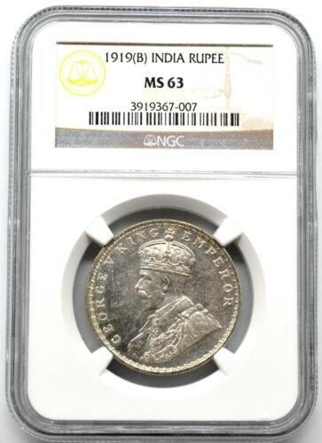 India 1919 B Rupee British Silver NGC MS63 Bombay Rare High Grade BU Pretty