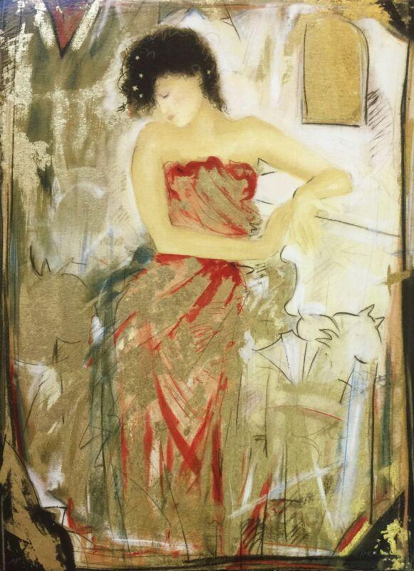 "Janet Treby ""red Dress"" | Signed Serigraph | 24 X 18"" | British | Coa | Gallart"
