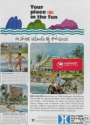 Hilton Hotels Hawaii Your Places In The Fun Kona Maui Hawaiian Village 1968 Ad