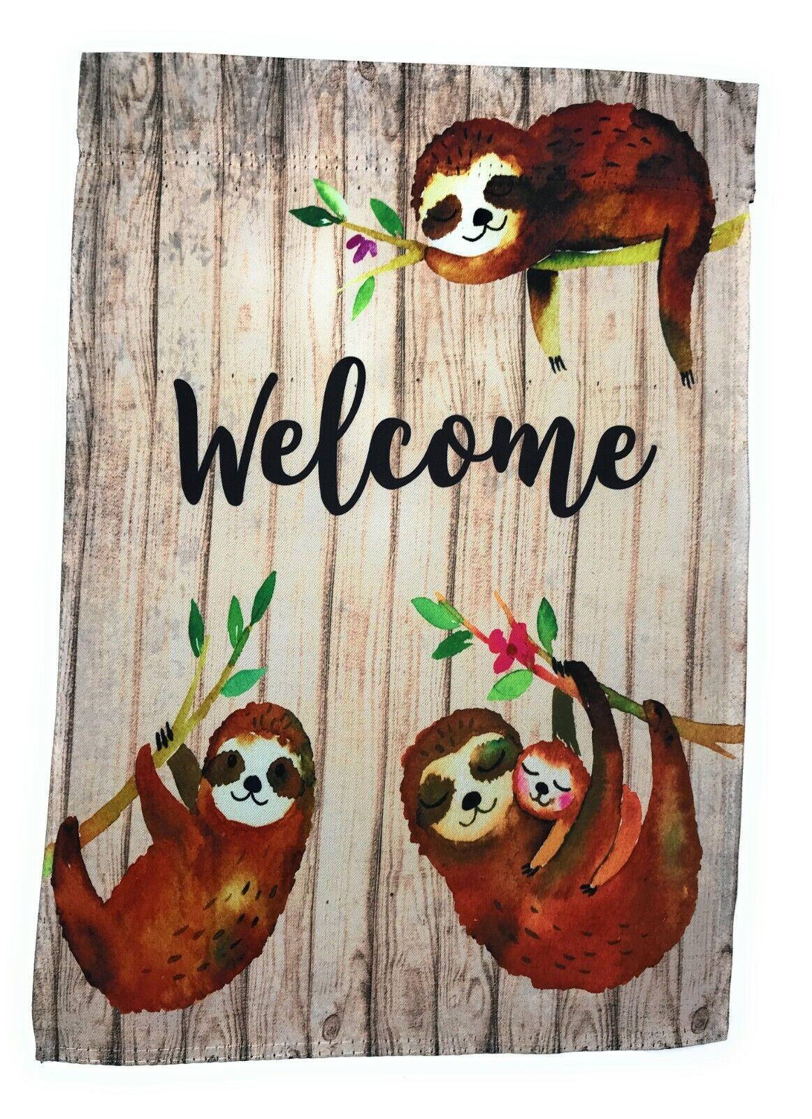 "Sloth Family Garden Flag, Double Sided, 12"" x 18"""