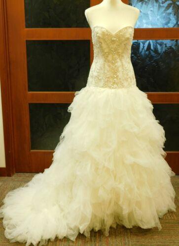 Strapless Tulle Wedding Dress w/ Ruffled Skirt Ivory sz10 (39-30-36) minor flaws