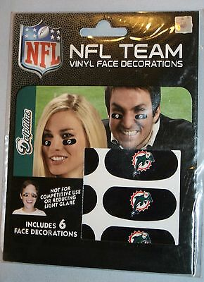 Neu Ungeöffnet NFL Miami Dolphins Vinyl Gesicht Dekorationen Party Tier 6 Pcs