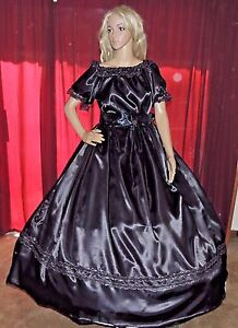 CIVIL WAR HALLOWEEN PIONEER DICKENS SASS Black Satin Mourning Costume Dress Gown