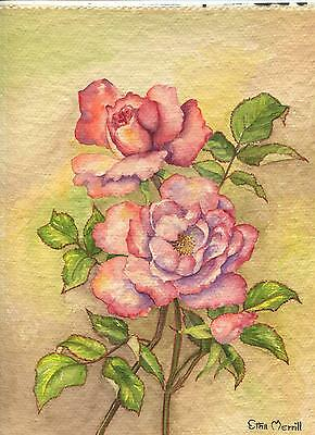 VINTAGE PINK PURPLE BOTANICAL GARDEN FLOWERS ROSES WATERCOLOR ORIGINAL PAINTING
