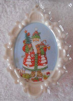 American Greetings Mary Engelbreit Santa 2014 Porcelain Christmas Ornament NEW