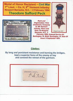 Medal of Honor Recipient~ Civil War ~ Theodore S, Peck ~ 9th Vermont Infantry