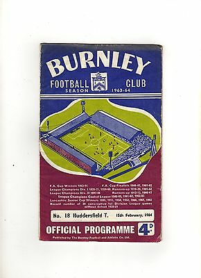 BURNLEY v HUDDERSFIELD TOWN 15th FEBRUARY 1964 FA CUP 5th Round