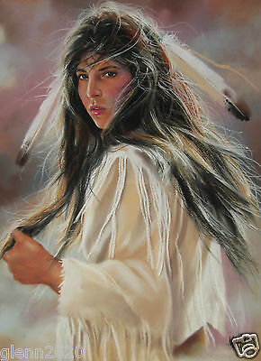 Maija Pastel Painting Original Woman With Feather Signed Framed38x32 inches