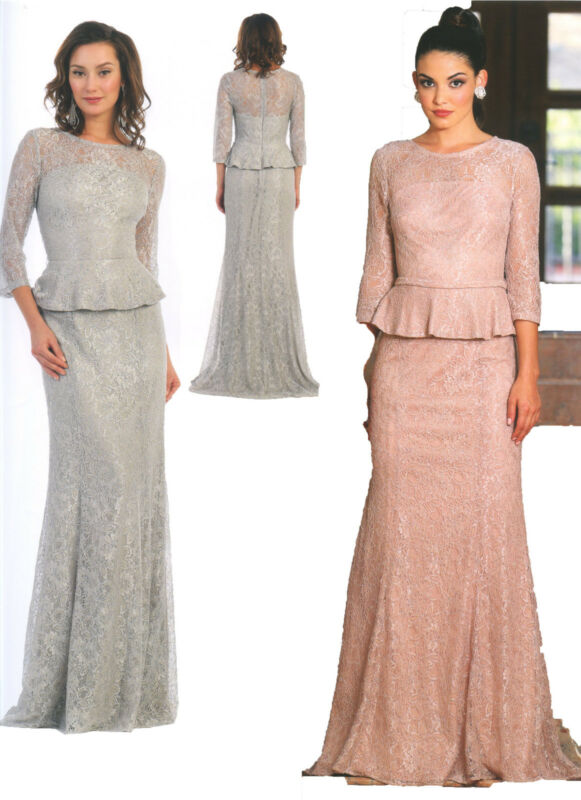 Elegant Dress Mother Of Bride/Groom Formal Gown Lace Church 3/4 Sleeve M~8XL New