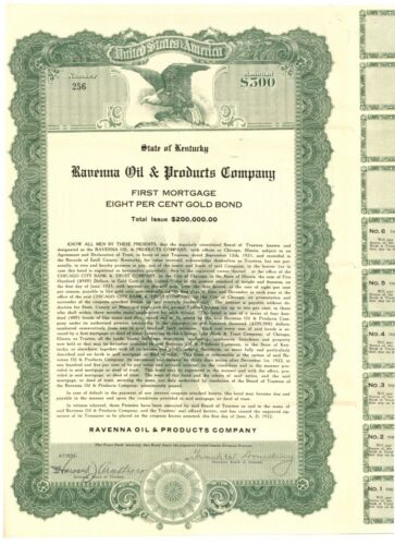 Ravenna Oil & Products Company. Bond Certificate. Kentucky