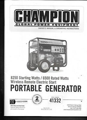 Champion Portable Generator Owner Operator Manual - For Model 41332 Remote