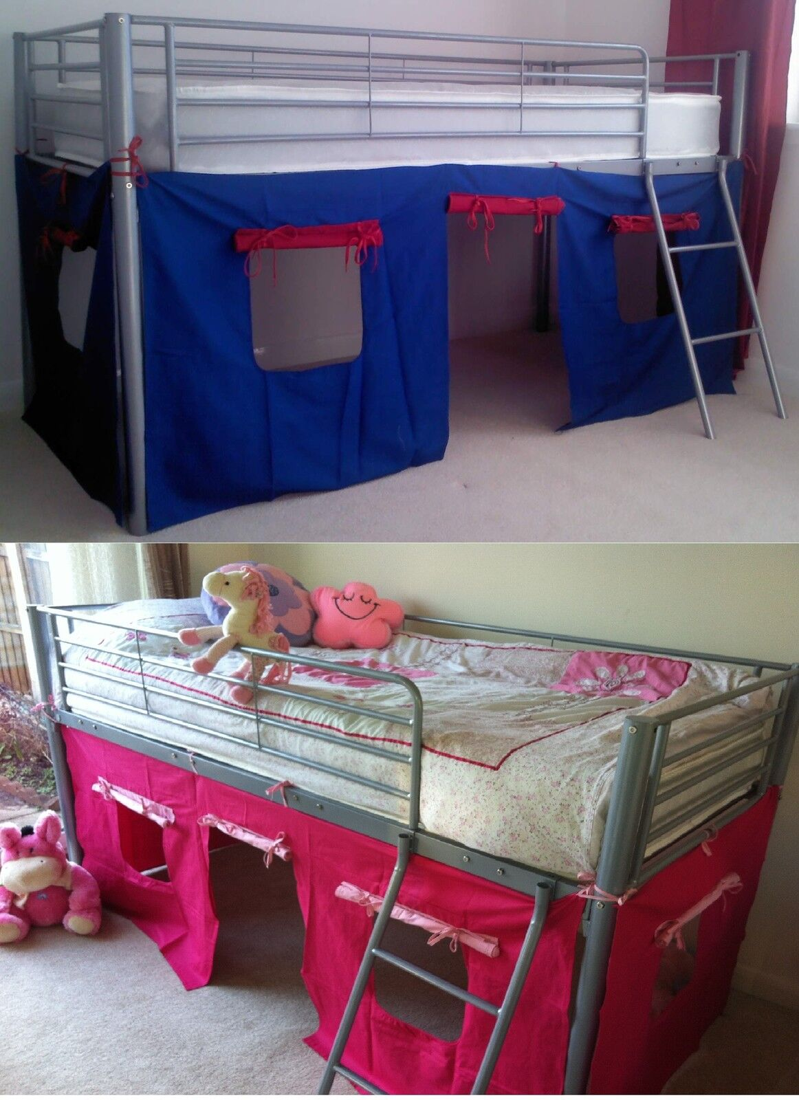 Picture of: Under Bed Blue Red Pink Tent Only For Mid Sleeper Cabin Bed Girls Boys New Ebay