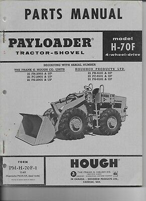 Original 1965 Parts Manual Pm-h-70f-1 For The Hough Payloader Model H-70f