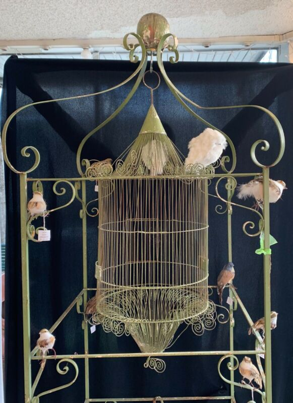 VICTORIAN WROUGHT IRON BIRD CAGE AND STAND