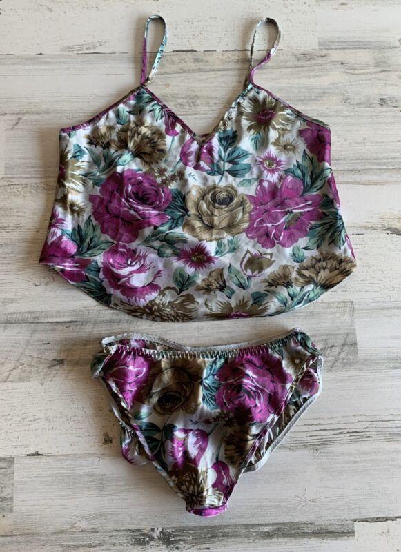 2pc. Vintage Victoria's Secret 80's Gold Label Panty & Cami Set Floral Medium M
