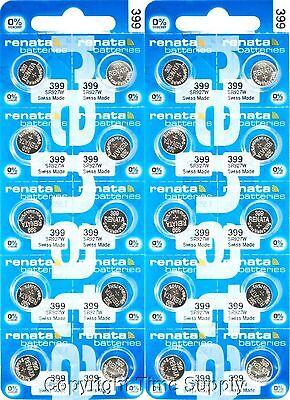 NEW 20 Renata 399 Watch Batteries SR927W FREE SHIP 0% MERCURY