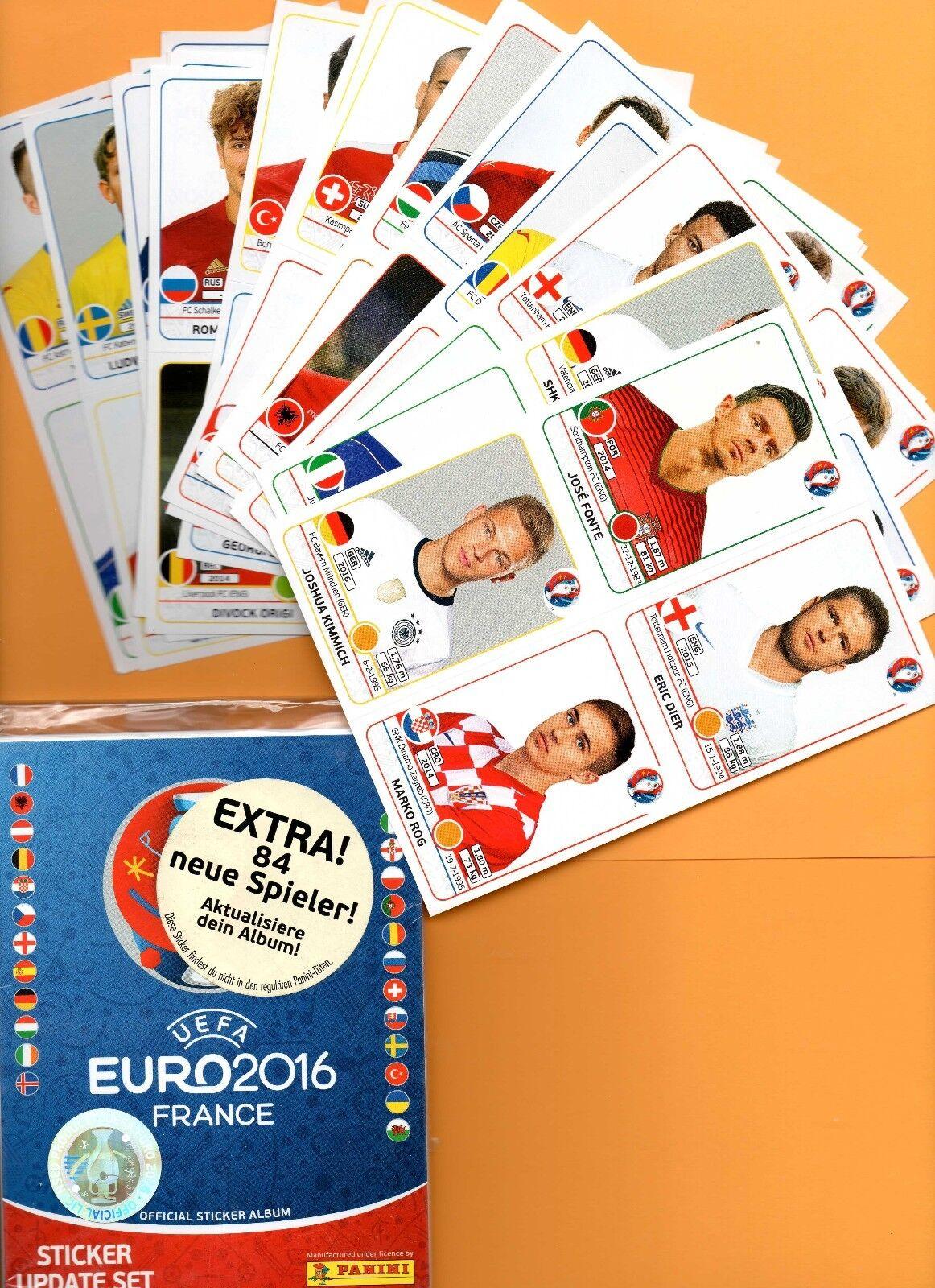 Panini Fußball EURO EM 2016 Frankreich Updatesticker Set 84 neue Spieler  1A