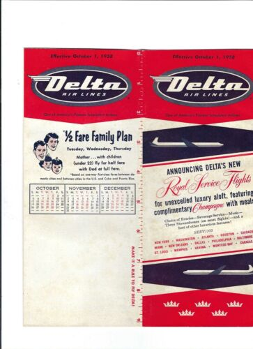 Delta  Airlines  October 1  1958 Timetable