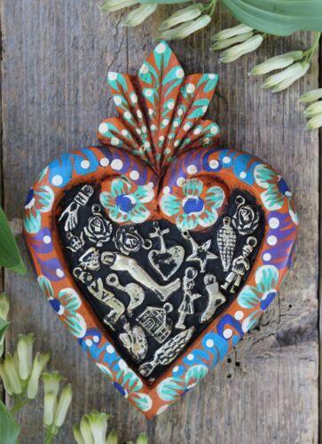 #1 Floral Sacred Heart Orange Wood & Milagros Miracle Mexican Folk Art Michoacán