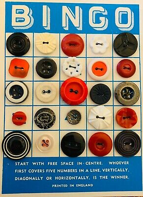 Vintage Bingo Card With Vintage Buttons