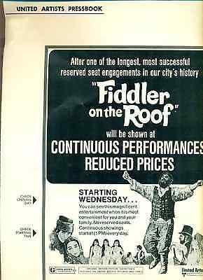 FIDDLER ON THE ROOF United Artists PressBook (1972)