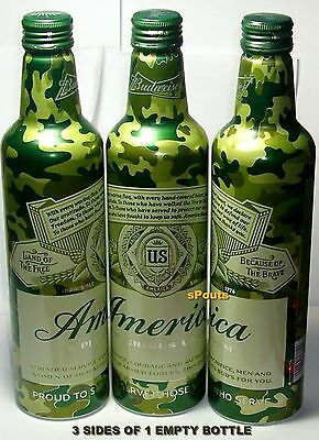 CAMOUFLAGE AMERICA BUD ALUMINUM BEER BOTTLE-CAN LAND OF FREE-BECAUSE OF BRAVE