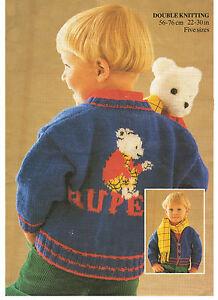 boys jumper, cardigan rupert the bear knitting pattern 99p